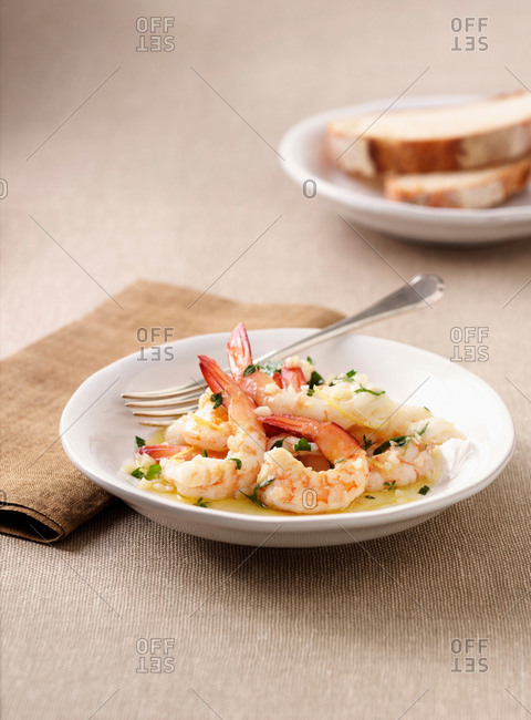 Dish of prawns in sauce