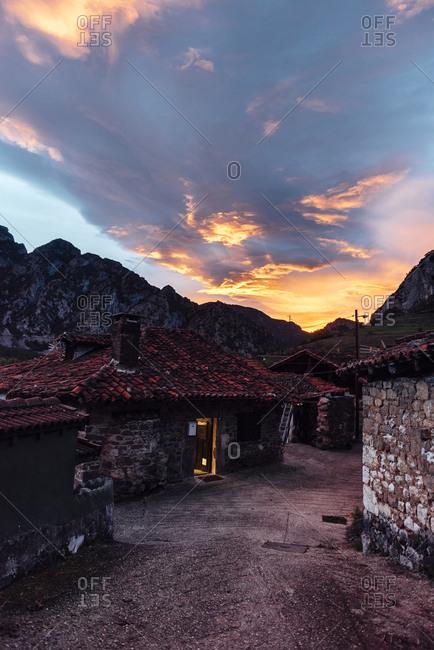 Dramatic sunset with dark clouds, Asturias, Spain