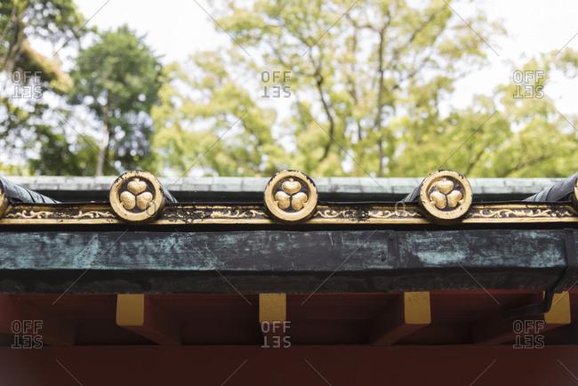 Rooftop detail at Kunozan Tosho-gu shrine, Shizuoka Prefecture, Japan