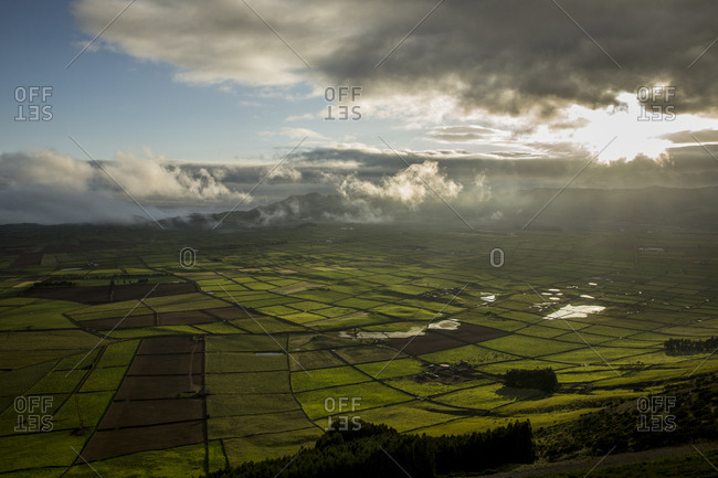 View of cultivated fields from Serra do Cume, Terceira, Azores, Portugal