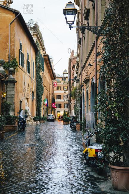 Rome, Italy - March 6, 2017: Via Margutta in the rain