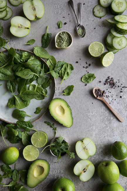 Ingredients for a healthy green matcha smoothie