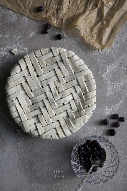 A lattice fruit pie ready for cooking