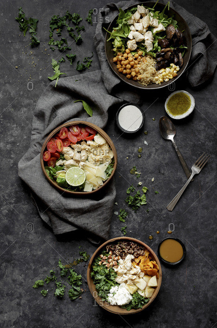 A summer salad in bowls