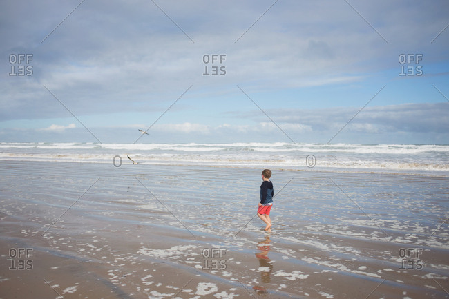 Boy walking in the ocean tide