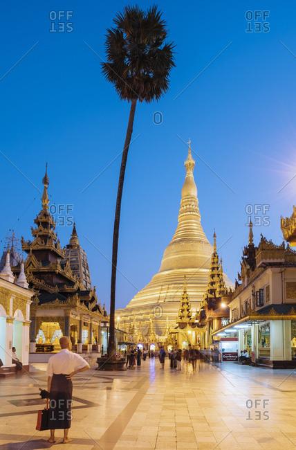Yangon, Myanmar - January 13, 2017: Shwedagon Pagoda