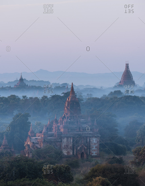 Bagan, Myanmar - January 19, 2017: View of Temples at dawn, Mandalay Region