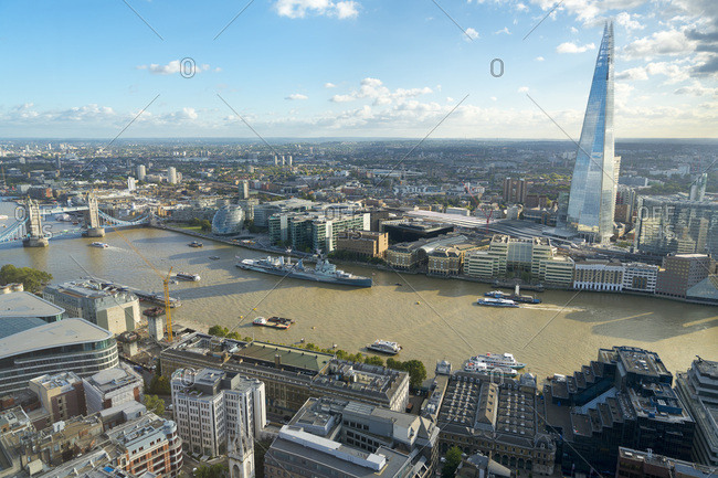 London, England - October 6, 2016: View of the River Thames, Tower Bridge, and the Shard