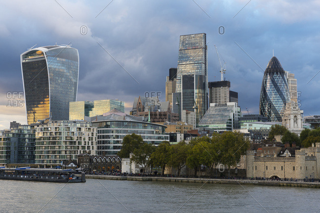 London, England - October 6, 2016: View of the Financial District, City of London