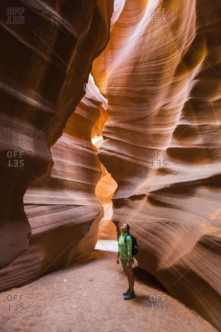 Page, Arizona - September 19, 2015: Girl visiting Upper Antelope Canyon, Navajo Tribal Park, Arizona