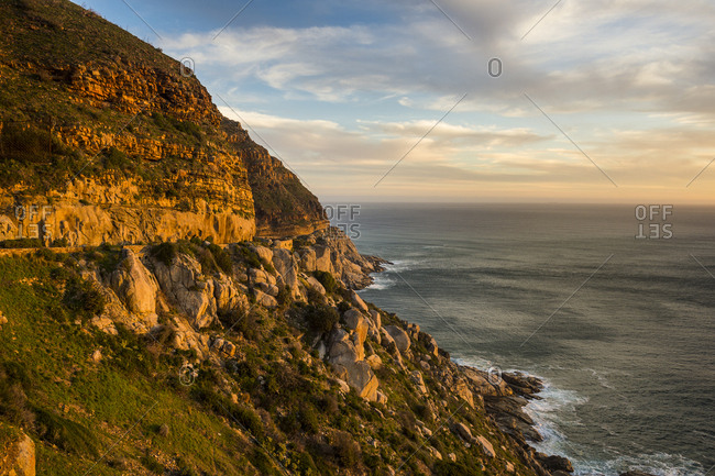 Cliffs of Cape of Good Hope at sunset, South Africa, Africa