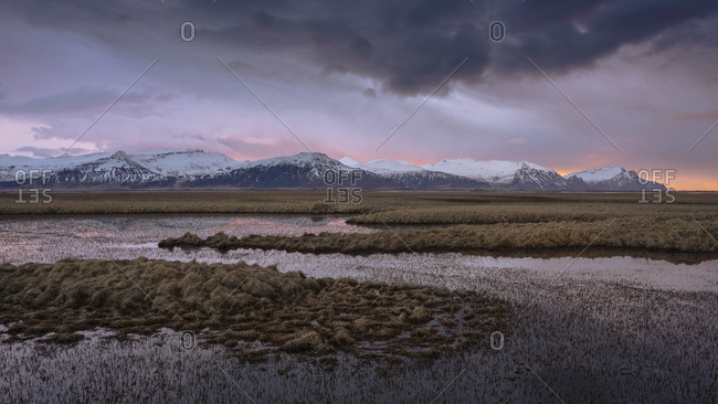 Sunrise over snow-covered mountains and lakes in east Iceland, Polar Regions