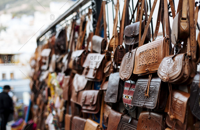 Leather and textile goods for sale, Chefchaouen, Morocco, North Africa, Africa