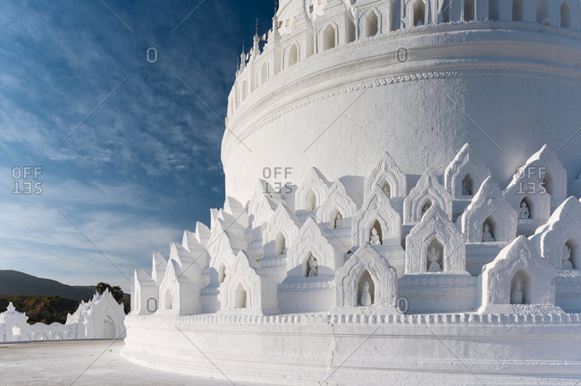 Exterior of Hsinbyume Paya, Mingun, Mandalay Region, Myanmar (Burma), Asia