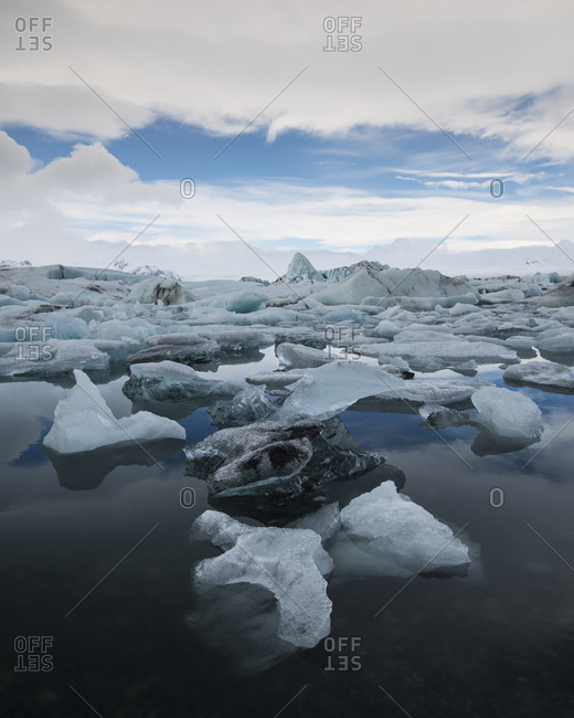 Icebergs floating in Jokulsarlon Glacier Lagoon, Iceland, Polar Regions