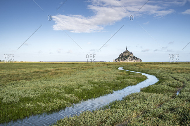 Curves drawn by the tide, Mont-Saint-Michel, Normandy, France, Europe
