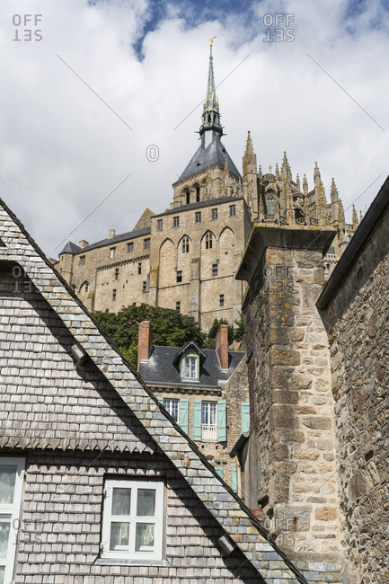 View of Mont Saint-Michel Abbey from below, UNESCO World Heritage Site, Mont-Saint-Michel, Normandy, France, Europe