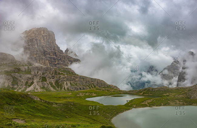 Piani lakes and Scarpieri peak on a foggy and cloudy day, Dolomites, Alto Adige district, Italy, Europe