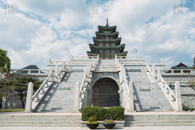 Seoul, South Korea - May 21, 2017: The National Folk Museum of Korea- inside Gyeongbokgung Palace