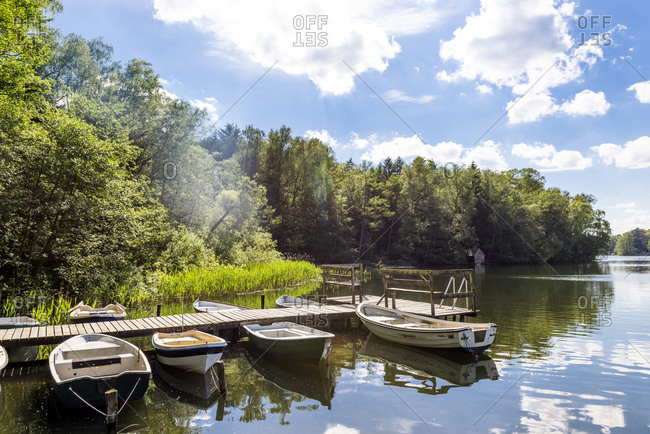 Germany- Ratzeburg- Salem- jetty with rowing boats at Pipersee