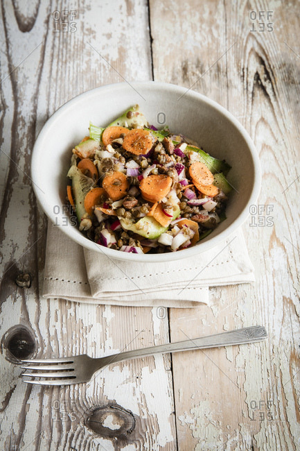 Lentil salad with carrot- cucumber and red radish