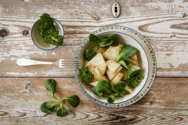Cooked celery salad with parsley