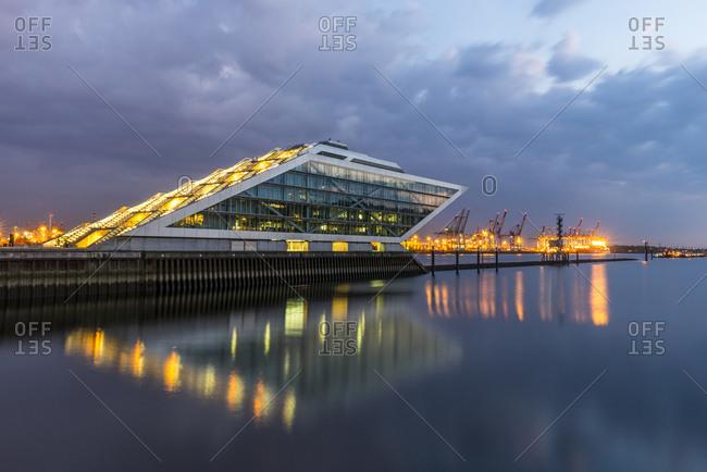 Germany- Hamburg- office building Dockland at fishing harbor