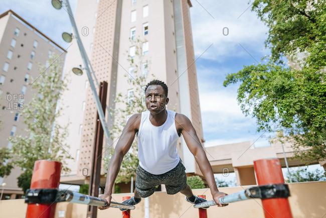 Man doing push-ups outdoors
