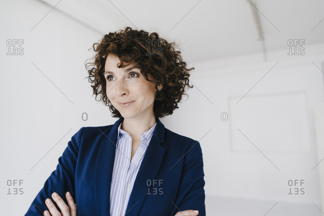 Businesswoman- smiling happily