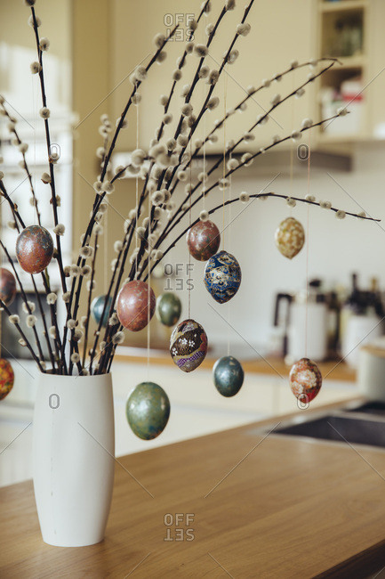 Easter eggs prepared with origami paper