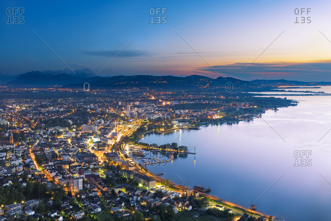 Austria- Bregenz and Lake Constance at sunset