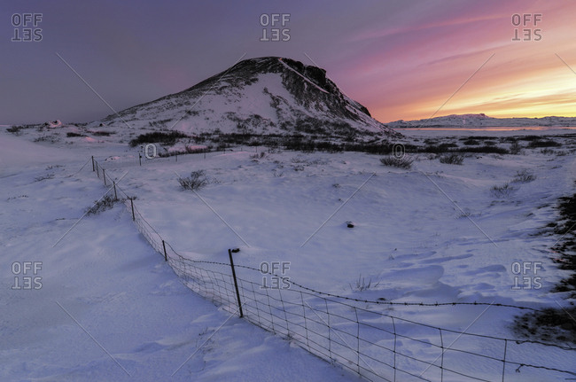 Iceland- Snowy landscape at sunset