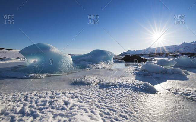 Iceland- frozen landscape in a glacier