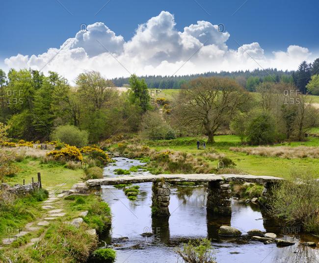 UK- Postbridge- Clapper Bridge over East Dart River at Dartmoor National Park