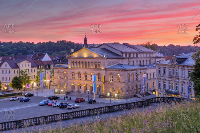 Germany- Bavaria- Coburg- State Theatre in the evening