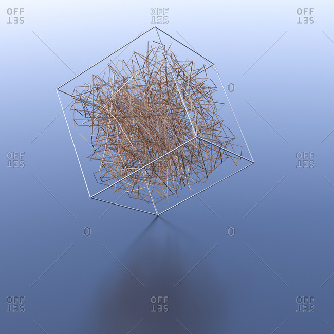 Lines inside transparent cube- 3d rendering