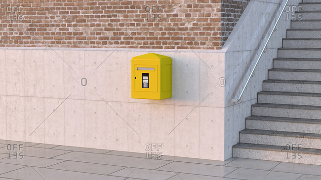 Letter box on concrete wall- 3d rendering