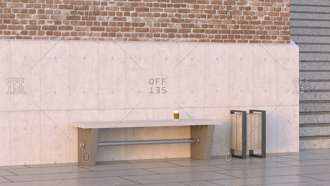 Takeaway coffee on bench next to waste bin- 3d rendering