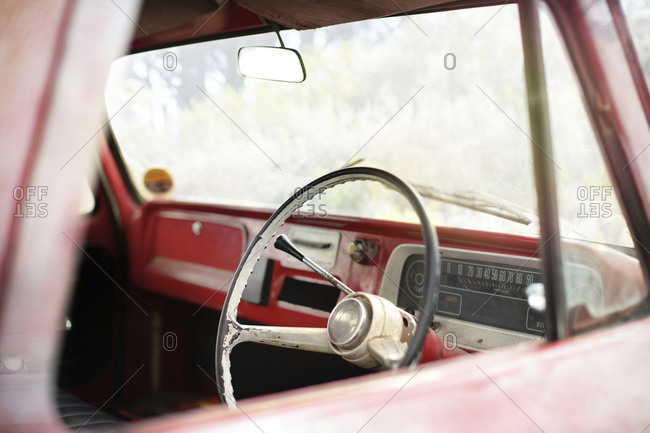 Interior of an old pick up