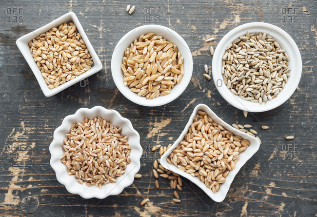 Ancient grains in bowls - Offset