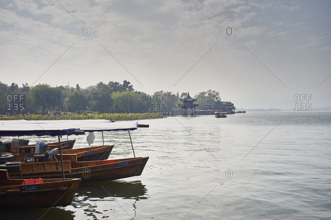 Hangzhou, China - November 5, 2014: Moored fishing boats on Westlake