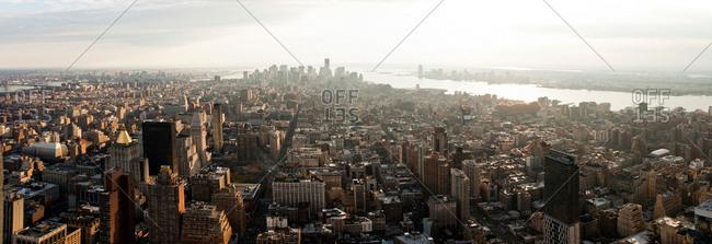High angle view of Manhattan skyline, New York, USA