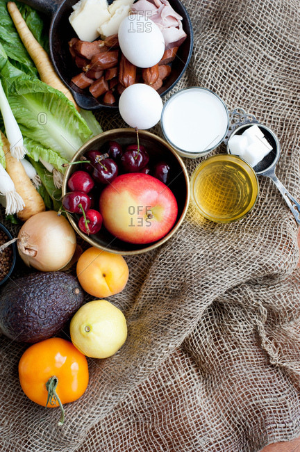Variety of fresh foods on hessian