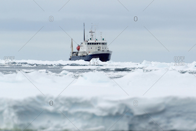 Adventure research ship Spirit of Enderby, ice floe in the southern ocean, 180 miles north of East Antarctica, Antarctica