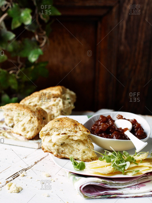 Savory scones with spicy chutney and cheddar cheese