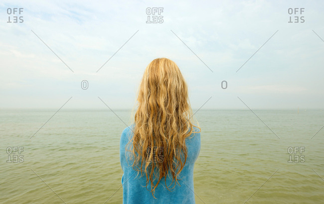 Back view of girl looking out at ocean