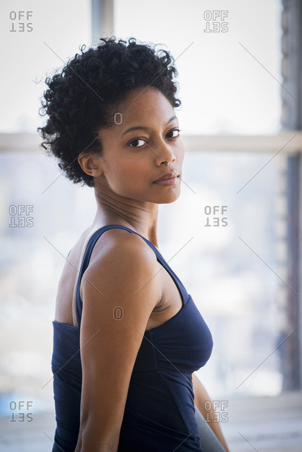 Woman looking over shoulder