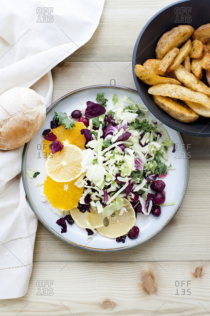 Plate of salad with side order of chips
