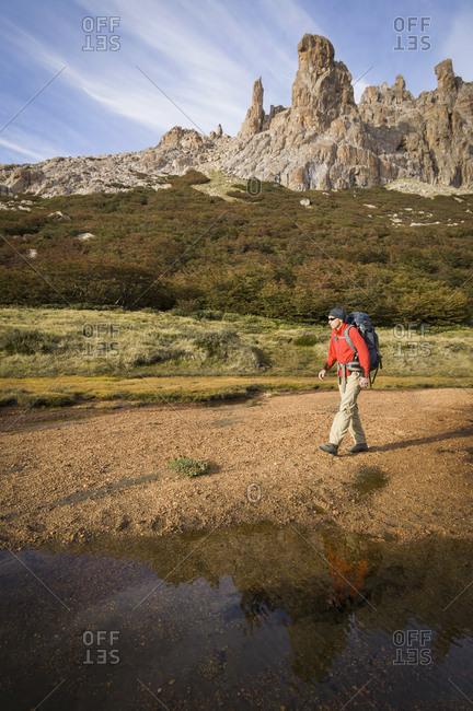 Man hiking, San Carlos de Bariloche, Nahuel Huapi National Park, Argentina