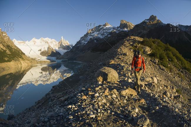 Man hiking near Laguna Torre, El Chalten, Los Glaciares National Park, Argentina